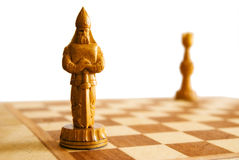 Chess. Knight and rook on chess board royalty free stock photos