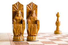 Chess. King and queen on chess board Royalty Free Stock Images