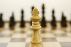 Chess. King Facing All Chess Pieces Royalty Free Stock Images