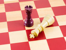 Chess. Checkmate by rook on a chess board Stock Photos