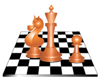 Chess. Board with three figures Royalty Free Stock Photography
