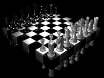 Chess. Realistic display of chess board with  ches figures on dark surface Royalty Free Stock Image
