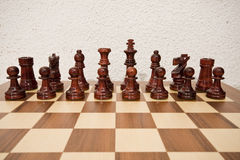 Chess. Pieces of chess placed on the board Royalty Free Stock Photo