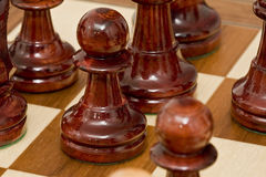 Chess. Pieces of chess placed on the board Royalty Free Stock Photography