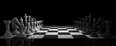 Chess. Board on black background Stock Photos