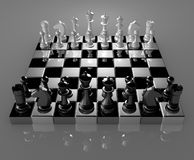 Chess. Black and white chess figures on chess board Royalty Free Stock Photo