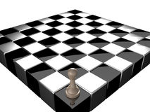 Chess. Pawn standing on chess board Royalty Free Stock Photo