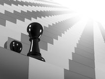 Chess. Climbing the stairs to success Royalty Free Stock Photos