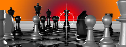 Chess. Look from perspective of queens attacker Royalty Free Stock Image