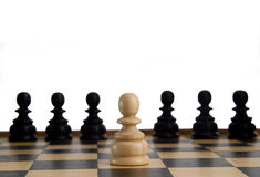 Chess. Game close up on white background Stock Photos