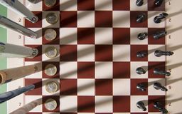 Chess. Paper moneys with a chess Stock Images