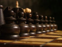 Chess. Game of chess, traditional, wooden figurines Stock Image