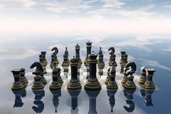 Chess. 3D chess board rendering Stock Photos