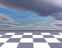 Chess abstract background with chessboard and cloudy sky. Royalty Free Stock Photos