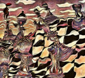 Chess. Abstract painting. Chess figures on a chessboard. Man flies with red umbrella. Vincent Van Gogh style. This image created in entirety by me from my own Stock Image