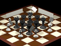 Chess allegory opposition citizens and government Stock Image