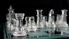Chess -Alone in the Corner Stock Images