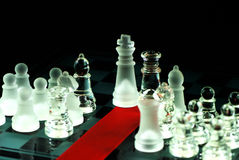 Chess And Red Ribbon On Chess Board Royalty Free Stock Photography