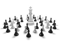 Chess army and leader abstract concept with chess king. Stock Photography
