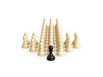 Chess Arrow Direction. Straight direction arrow from chess pieces and black pawn as the leadership of others, isolated on white background Royalty Free Stock Images