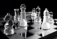 Chess B&w. Black & white photo of glass chessman Stock Photography