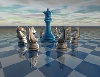 Chess background with chess queen and horses Stock Photo