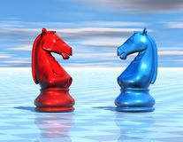 Chess background with chessboard and horse figures Royalty Free Stock Photos