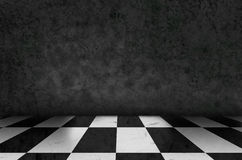 Chess background interior in a dark room and moss on wall Stock Images