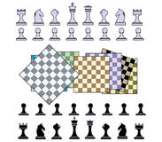 Chess background. Vivid colors chess pieces and tables Stock Images