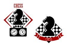 Chess badges with chessboards and figures. Chess tournament badges with black horses and game clock with chessboards on the background adorned with red ribbon Stock Photography