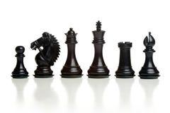Chess balck pieces Royalty Free Stock Photos