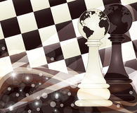 Chess banner with two pawn, vector. Illustration stock illustration
