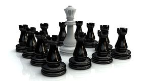 Chess battle 1. Chess battle for king on wite background Stock Images