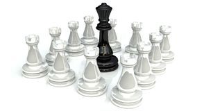 Chess battle 1. Chess battle for king on wite background Royalty Free Stock Photo