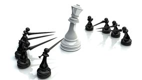 Chess battle 1. Chess battle for king on wite background Royalty Free Stock Photography