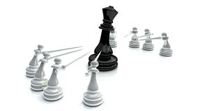 Chess battle 1. Chess battle for king on wite background Royalty Free Stock Photos