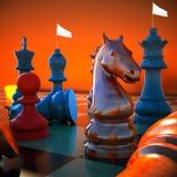 Chess battle. White flag defeat Stock Photos