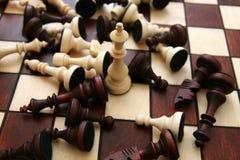 Chess battle... King white winner Stock Photography