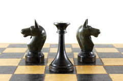 Chess battle. On white background Royalty Free Stock Images