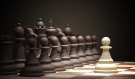 Chess battle begins. Chess opening move - pawn in center of board. 3D rendered illustration.  Stock Photo