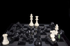 Chess Battle Black Defeat Stock Photo