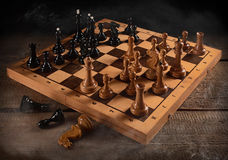 Chess battle black and white Royalty Free Stock Image