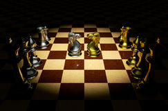 Chess battle. Knight battle chess on a board 3d rendering Royalty Free Stock Photography