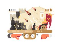 Chess battle on playing board. Intellectual game fight. Vector illustration Stock Images