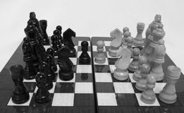 Chess. Beginning of the game.The chess pieces are placed on the chessboard. Black and white. Four knights debut Stock Photography