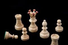 Chess on black. Chess white figure on black background Stock Photo