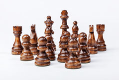 Chess. Black figures on white background. Royalty Free Stock Photography