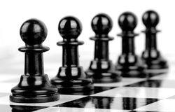 Chess black pawns Stock Photography