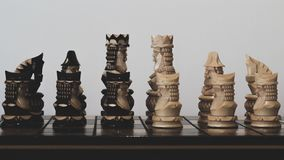Chess black and white king with pawns on the board royalty free stock photography