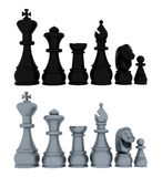 Chess blacks and whites - 3D Stock Photo